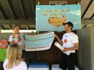 Julie Cunningham, board member & advocate, and Dr Hal Hoffman MD, medical advisor showing off the chart at our 2014 Autoinflammatory Picnic in Southern CA. Photo credit Maria Quintos